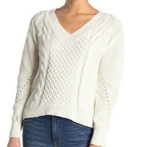New Abound Cable Knit V-Neck Sweater Long Sleeve M